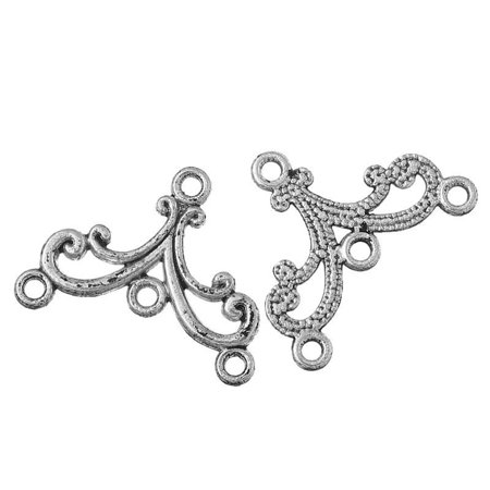 Sexy Sparkles 10 Pcs. Vine Connectors Findings Antique Silver 4 Holes - Findings 4 Piece