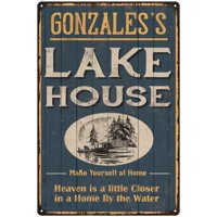 GONZALES'S Lake House Blue Cabin Home Decor 8 x 12 Matte Finish Metal 108120038110