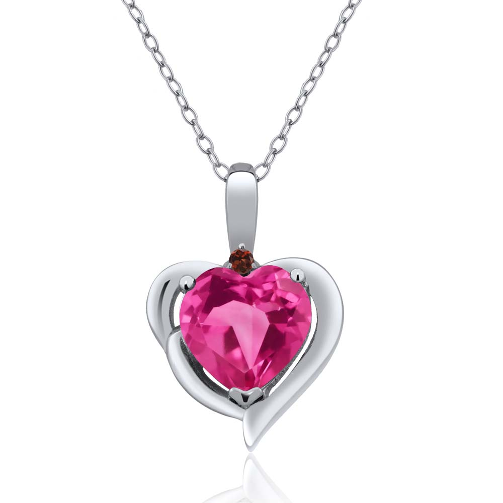 1.82 Ct Heart Shape Pink Created Sapphire Red Garnet 18K White Gold Pendant by