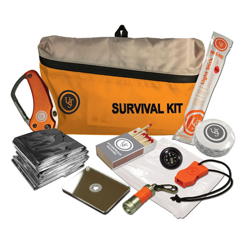 Click here to buy FeatherLite Survival Kit 2.0, Orange by Ultimate Survival Technologies.
