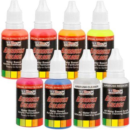U.S. Art Supply® 6 Color 1oz Neon Fluorescent Paint Set with Cleaner & (Six Color Fluorescent Set)