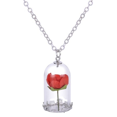 Red Rose In Glass Bottle Necklace Anti-Tarnish Chain, Jr-378-Red Glass Red Gold Necklace