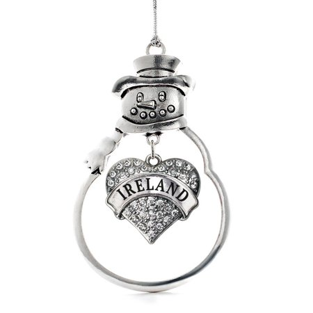 Ireland Pave Heart Snowman Holiday Ornament