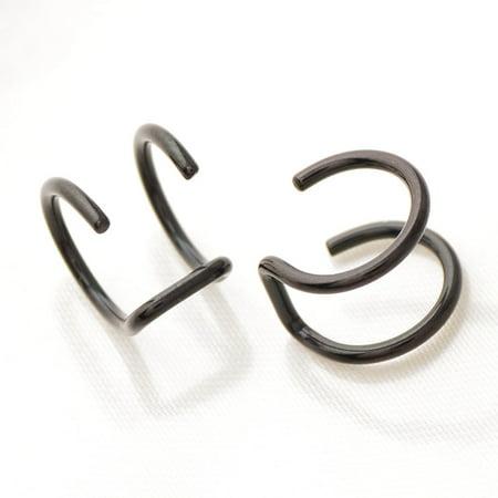 AkoaDa  Titanium Steel Ear Cuff Helix Cartilage Ear Ring Fake Clip On Cuff Wrap Upper Closure Ring Medical Steel Punk Ear Clip Earring (Fake Chanel Jewelry)