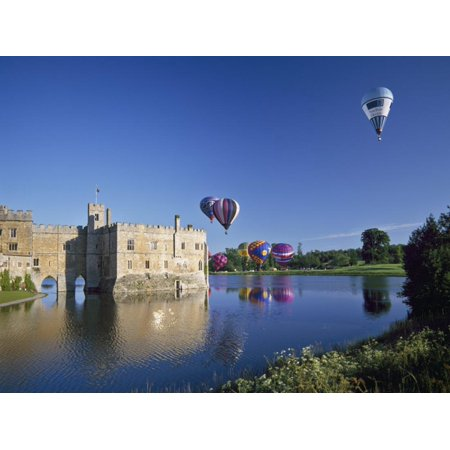 Hot Air Balloons Taking Off from Leeds Castle Grounds, Kent, England, United Kingdom, Europe Print Wall Art By Nigel Blythe ()