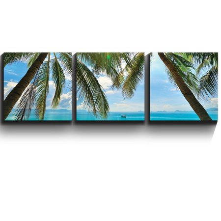 3 Square Canvas Panels - Contemporary Art - Tropical beach palm trees paradise- Three Gallery Wrapped Printed Piece - Wall26-16 x16 x3 Panels ()