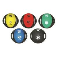 "CanDo Dual Handle Medicine Ball, 9"" Diameter, 5 Piece Set, Yellow/Red/Green/Blue/Black"