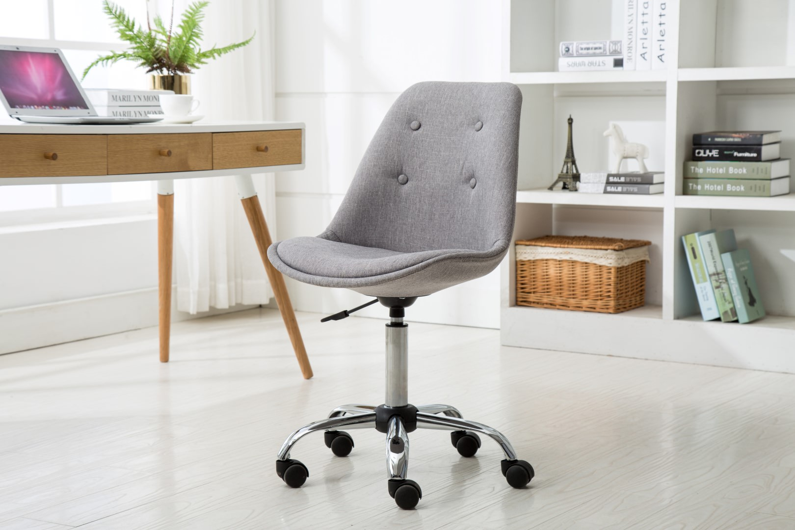 Porthos Home Office Chair With Caster Wheels, Height Adjustable, Chrome  Metal Base, Great For Leisure, Office Seating Or A Casual Gaming Chair Office  Chairs ...