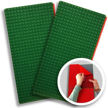 "Peel-and-Stick, Self Adhesive Baseplates - 2 pack (10"" x 20"") - Compatible With DUPLO-Style Bricks (Only With bigger size blocks) - Fastest and Easiest DIY Play Table or Wall - By Creative QT (Green)"