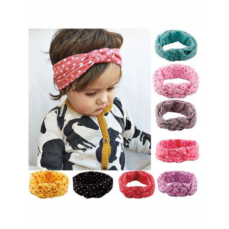 Baby Headband, Coxeer 8 Pcs Polka Dot Headband Toddler Infant Baby Kids Girls Flower Hair Band Accessories for Kids