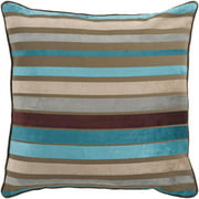 "22"" Brown and Teal Blue Striped Decorative Throw Pillow"