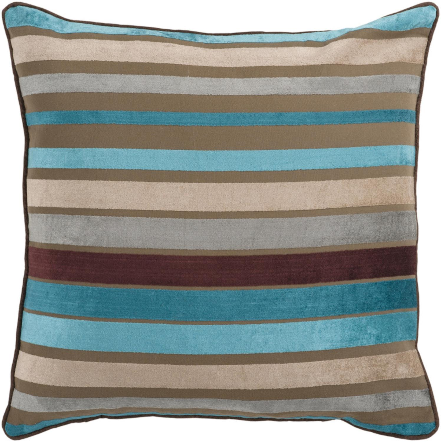"22"" Bright and Vibrant Brown and Teal Striped Decorative Throw Pillow"