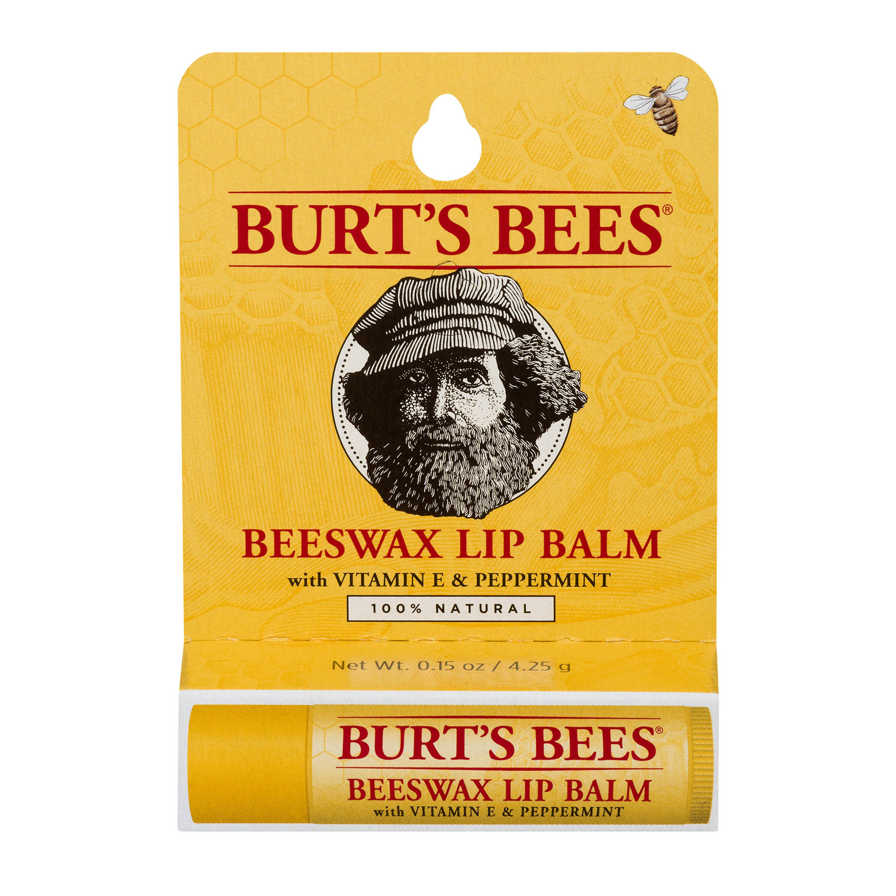 Burt's Bees 100% Natural Moisturizing Lip Balm, Original Beeswax with Vitamin E & Peppermint Oil -  1 Tube