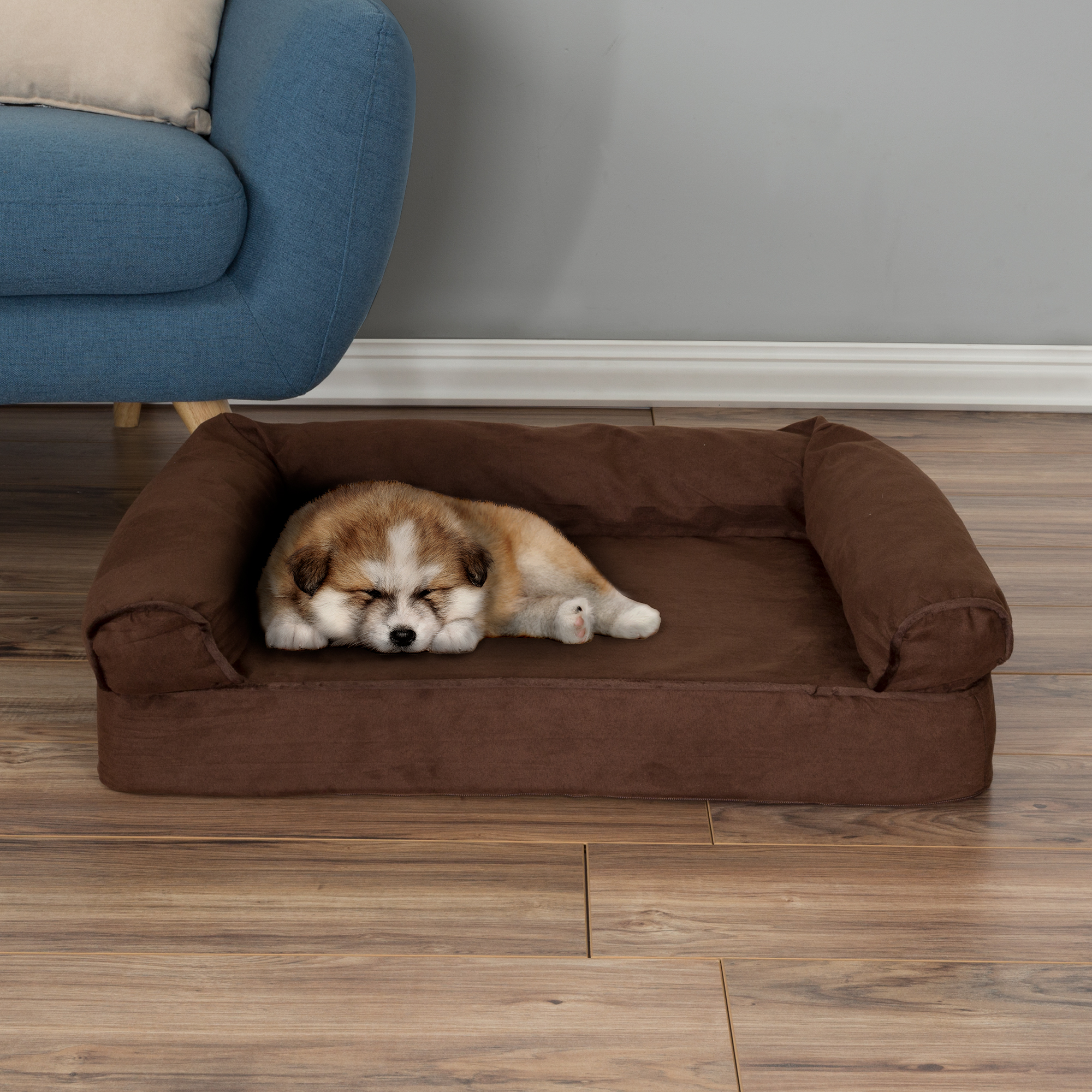 Dog Bed Orthopedic Pet Sofa Bed With Memory Foam And Foam Stuffed Bolsters  30x20.5x7