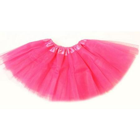 Baby Girls Hot Pink Satin Elastic Waist Ballet Tutu Skirt 0-12M (Long Tutus For Girls)
