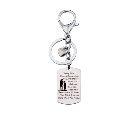 To My Son Jewelry Remember You Are Always Braver Than You Believe Hand Stamped Dog Tag Keychain ()