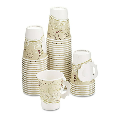 Paper Cups With Handles (Hot Cups, W/paper Handle, Symphony Design, 8oz, Beige,)