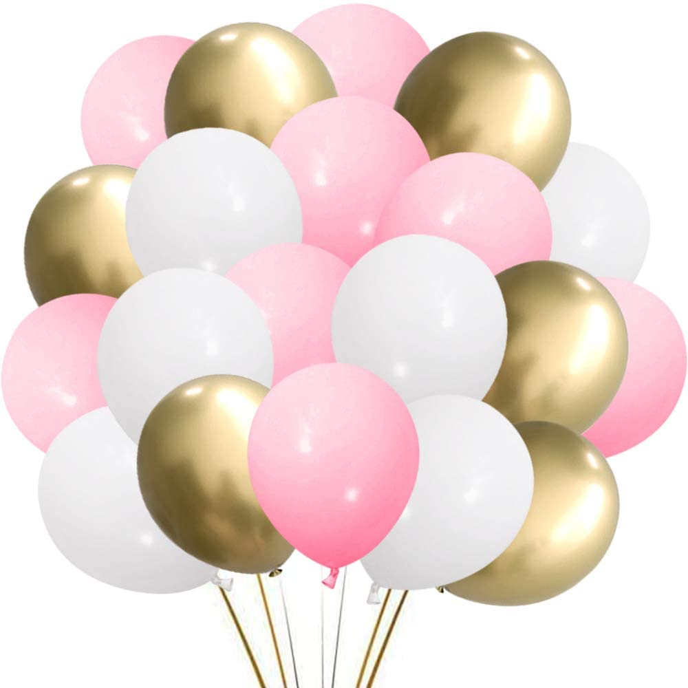 """Party Decoration Pack of 50-12"""" Metallic White Latex Balloons for Birthday"""