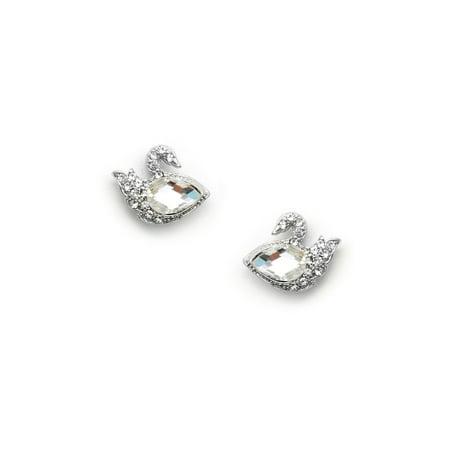 Silver Crystal Rhinestone Swan Shaped Stud Earrings With Pear Stone On Plate
