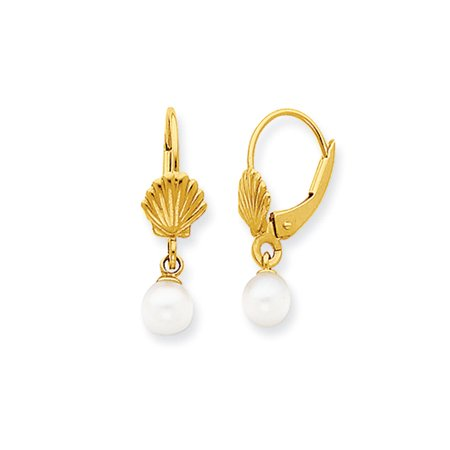 White Fw Cultured Pearl   Seashell Lever Back Earrings In 14K Gold