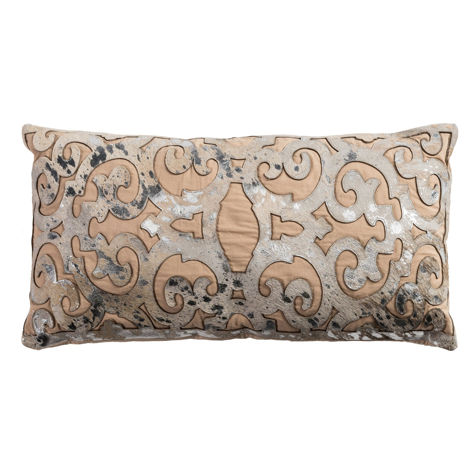 "Rizzy Home Decorative Poly Filled Throw Pillow Abstract 11""X21"" Beige"