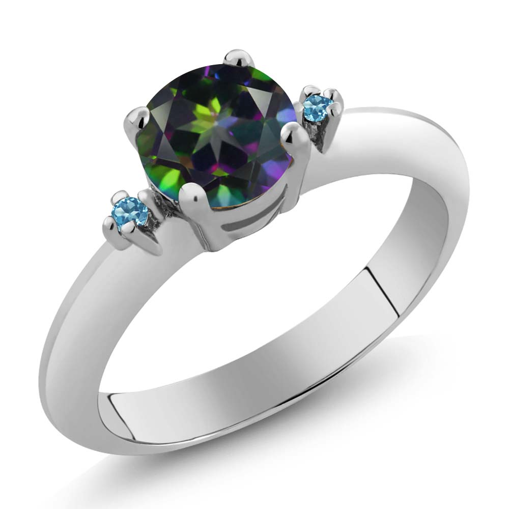 1.02 Ct Round Green Mystic Topaz and Swiss Blue Simulated Topaz 925 Silver Ring
