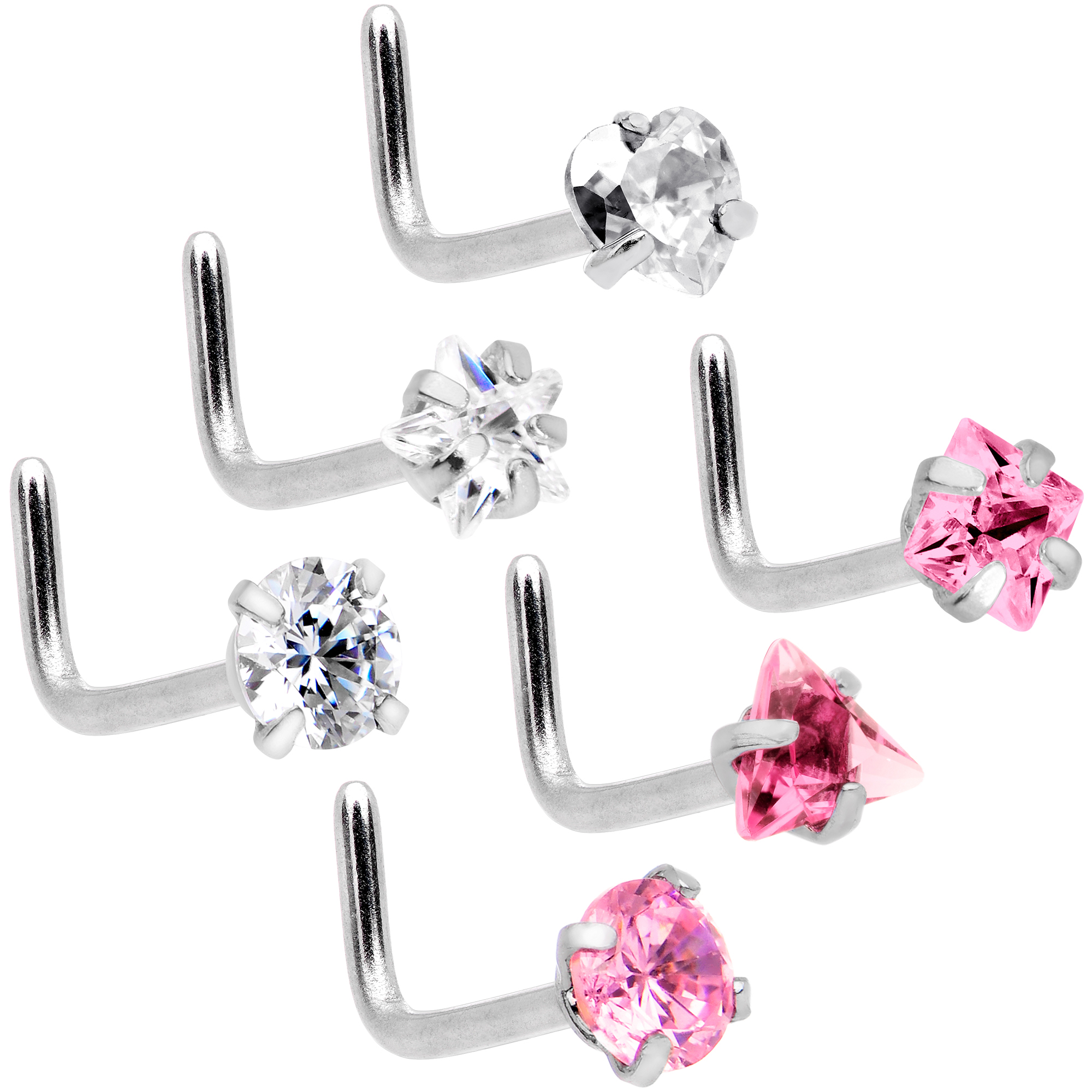 Body Candy 6Pc Womens 20G Steel L Shaped Nose Ring Clear Pink Accent Variety Nose Stud Body Jewelry 5/16""