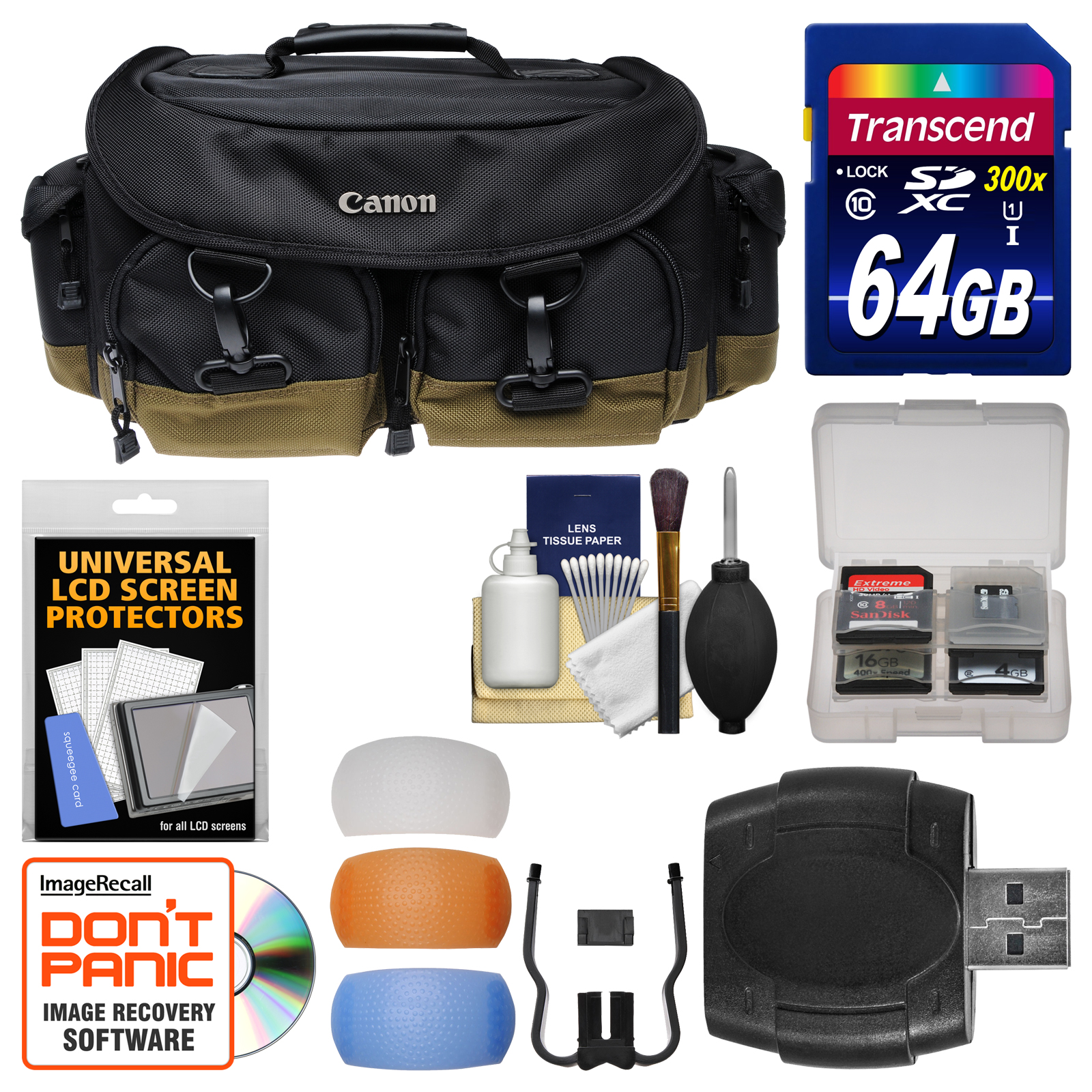 Canon 1EG Professional Digital SLR Camera Case  -  Gadget Bag with 64GB Card + Flash Diffusers + Kit