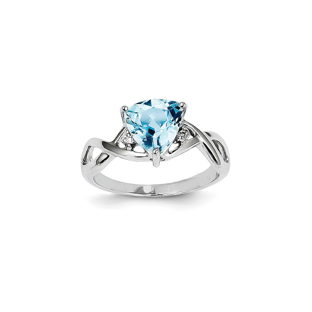 14k White Gold Blue Topaz and White Topaz Trillion Gem. Ring. Gem Wt- 1.49ct