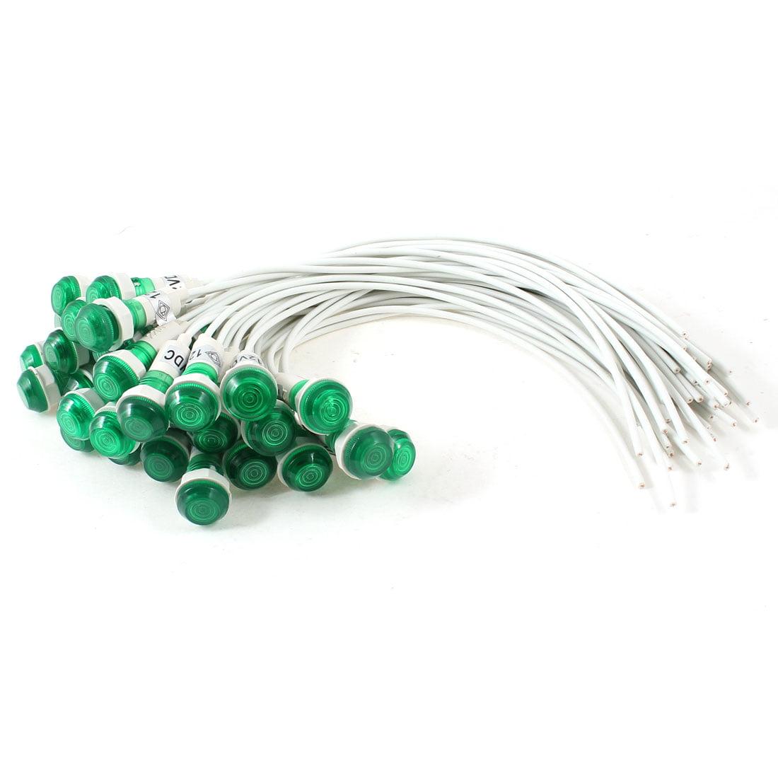 Unique Bargains 30 Pcs 10mm Hole 19cm Long Cable Green Indicator Light Lamp DC 12V