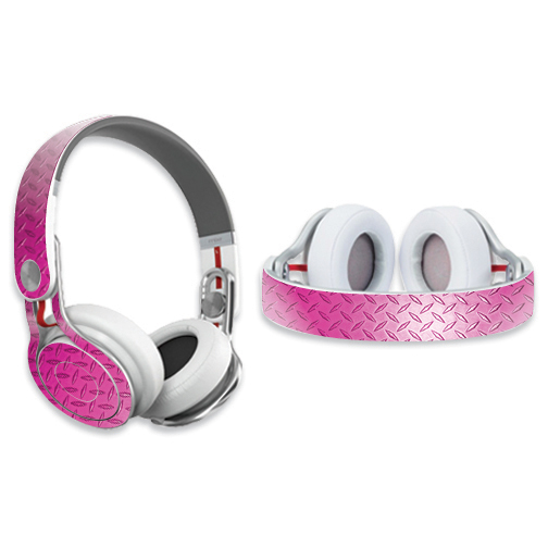 Skin Decal Wrap for Dr. Dre Beats Mixr Headphones Pink Diamond Plate