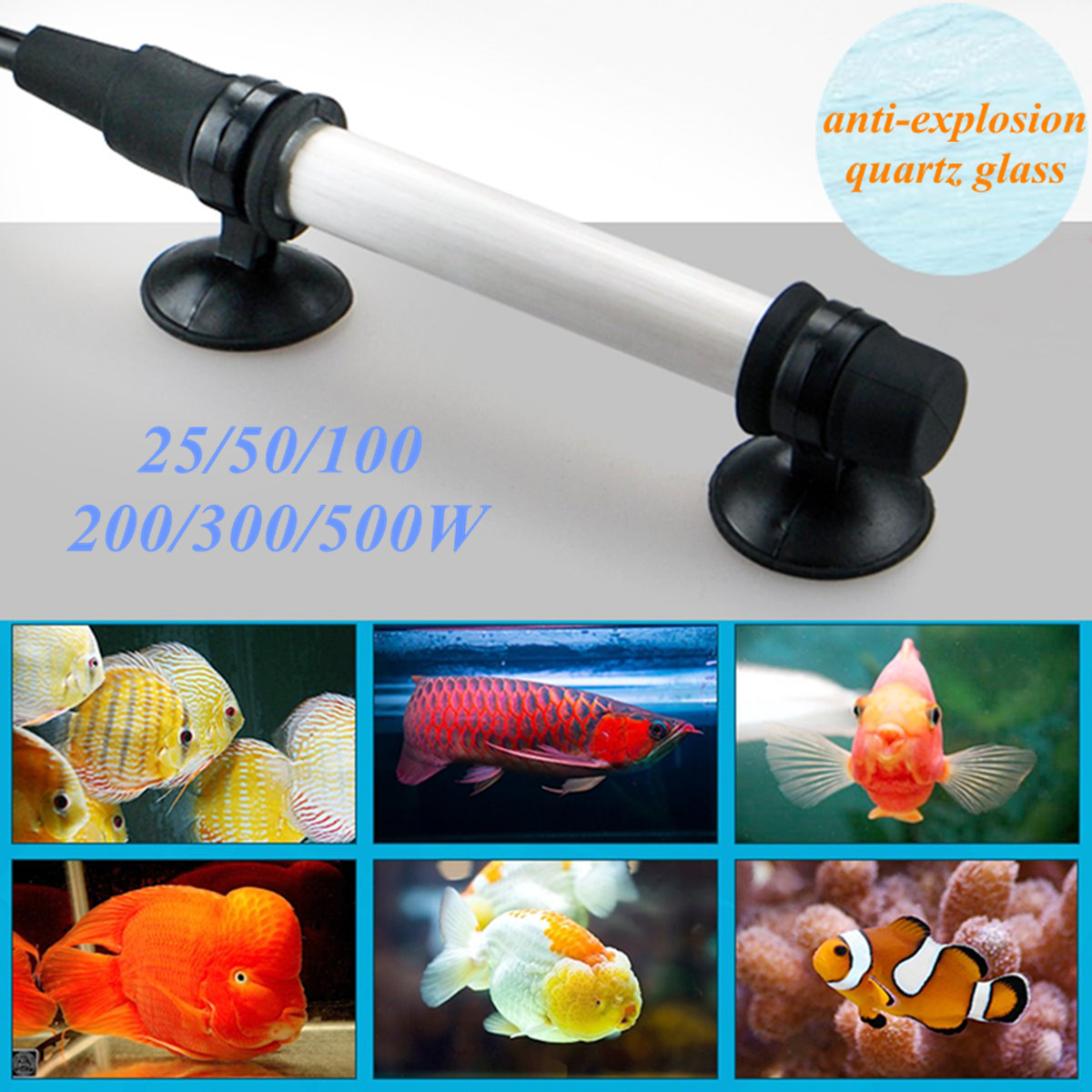 Moaere Aquarium Adjustable Heater Submersible Fish Tank Water Heater Thermostat