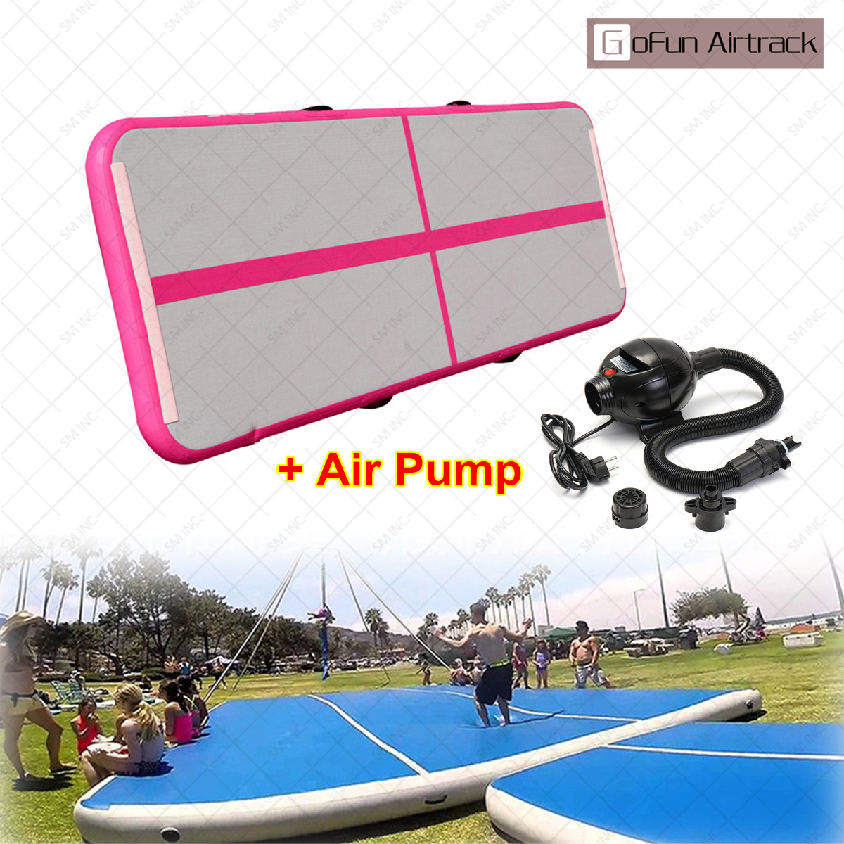 Air Track Floor Home Gymnastics Tumbling Mat Inflatable Mat For Gymnastics GYM with Air Pump by