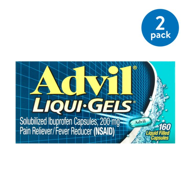 (2 Pack) Advil Liqui-Gels (160 Count) Pain Reliever / Fever Reducer Liquid Filled Capsule, 200mg Ibuprofen, Temporary Pain Relief
