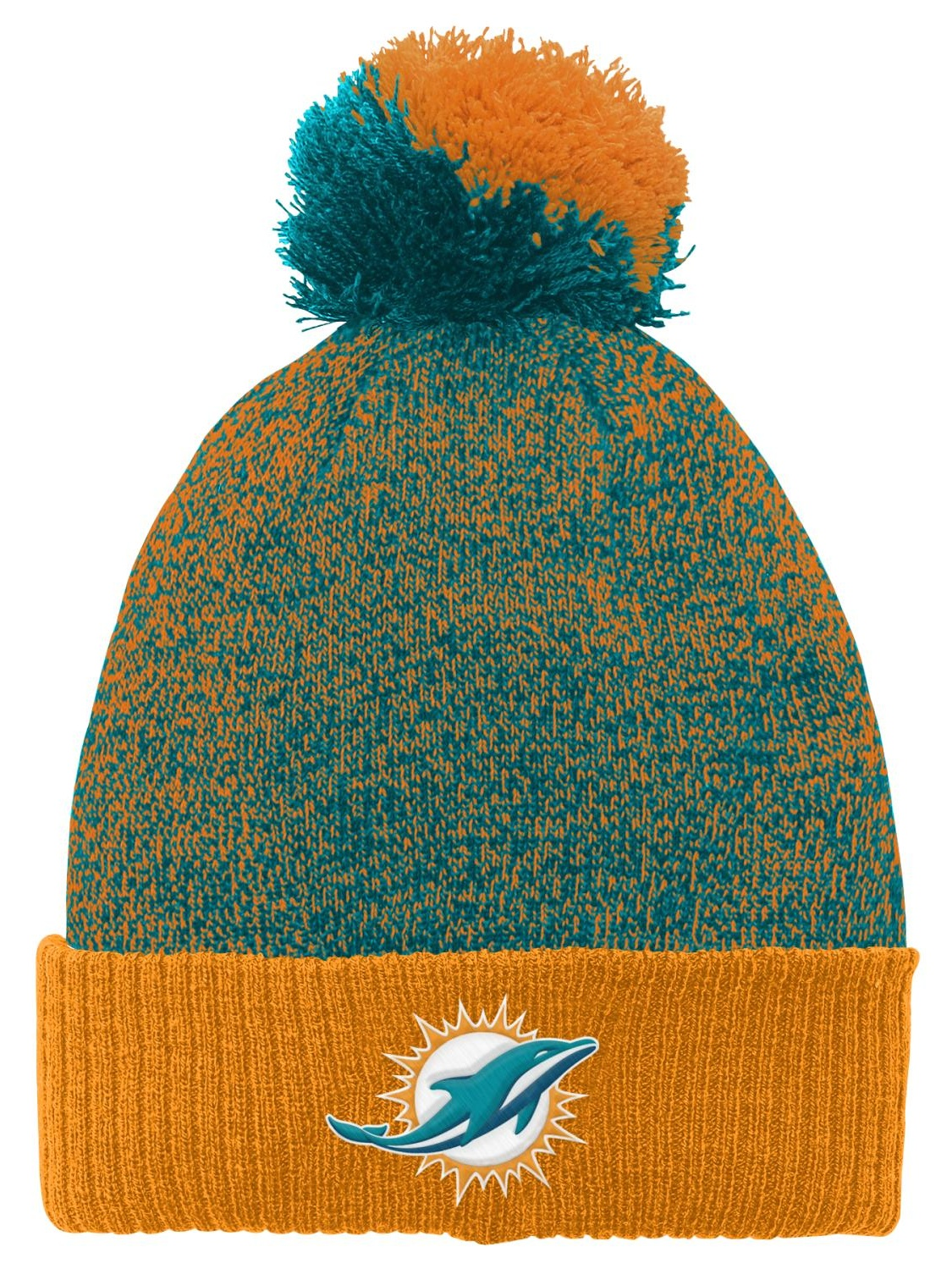 """Miami Dolphins Youth NFL """"Basic"""" Cuffed Knit Hat w  Pom by Outerstuff"""