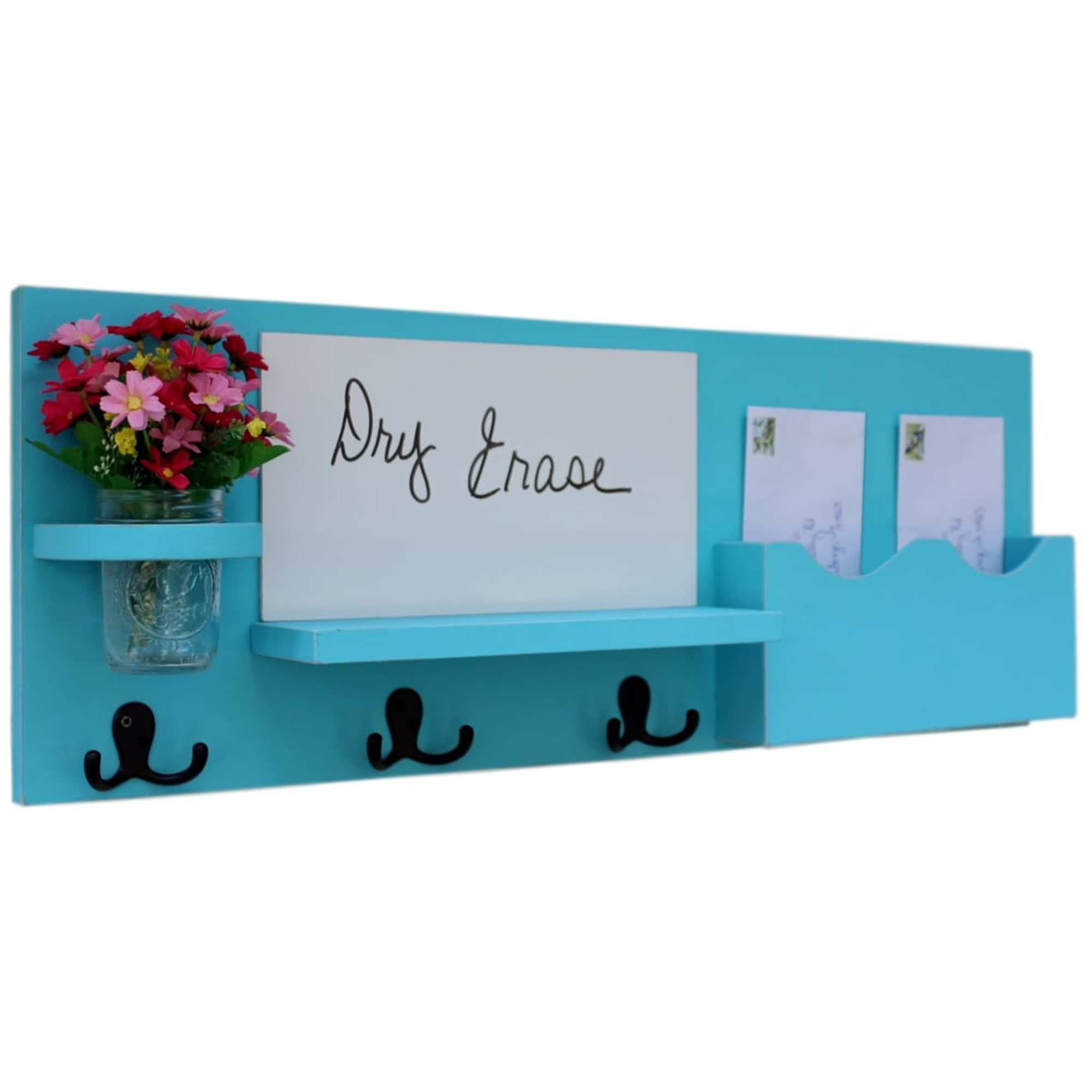 Large Slot Mail Organizer with Whiteboard, Coat Hooks & Mason Jar