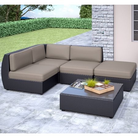Corliving seattle curved 5 piece sectional with chaise for 5 piece sectional sofa with chaise