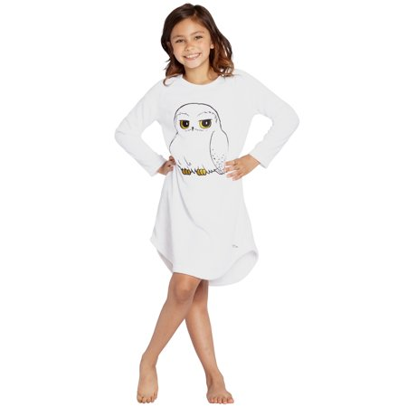 Hedwig Owl Harry Potter Nightgown Girls Pajamas Plush Fleece Hogwarts Sleep Gown - Hedwig Owl