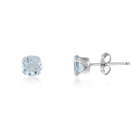 Round 2mm Sterling Silver Simulated Aquamarine Stud Earrings, Free Gift Box included