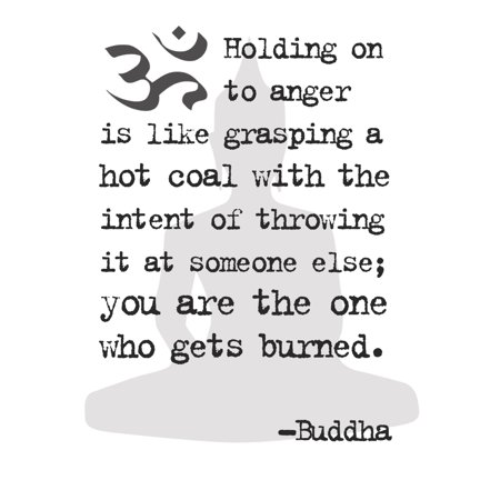 Tiled Buddha Art - Black & White Buddha Quote Holding On To Anger Print - Motivational Poster - Inspirational Office Art