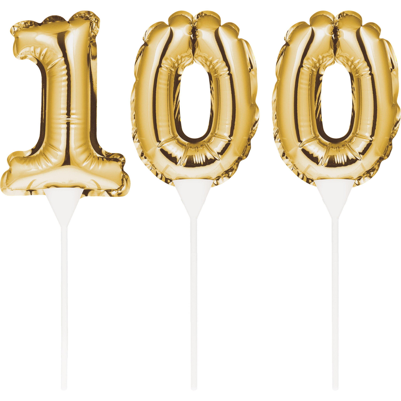 """Birthday Balloon Cake Toppers 3 1/2"""" Ballon 9"""" H """"100"""" Gold, Case of 36"""