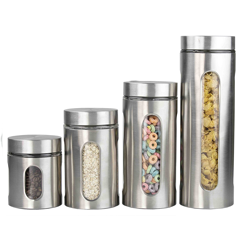 Home Basics 4 Piece Kitchen Food Storage Canister Set Stainless Steel U0026  Glass