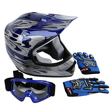 XFMT Youth Kids Motocross Offroad Street Dirt Bike Helmet Goggles Gloves Atv Mx Helmet Pink Butterfly – Small, Blue Flame