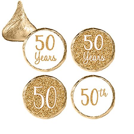 50th Anniversary Candy Stickers 324 Count - Gold 50th Anniversary Party Supplies Golden 50th Wedding Anniversary Decorations Party Favors - 324 Count Stickers - Halloween Wedding Anniversary Party