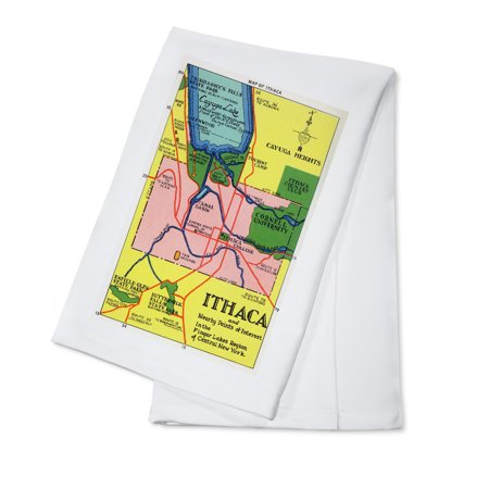 Ithaca, New York - Detailed Map Postcard of Ithaca and Nearby Points of Interest (100% Cotton Kitchen Towel) - Adult Store Nearby