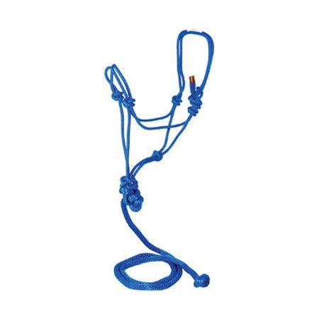 Halti Halter - Hamilton Halter Company-Adult Horse Rope Halter With Lead- Blue Average Horse