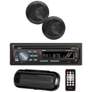 Pyle Marine Single-din In-dash Cd Am/fm Receiver With Two 6.5 Speakers, Splashproof Radio Cover &  (black)