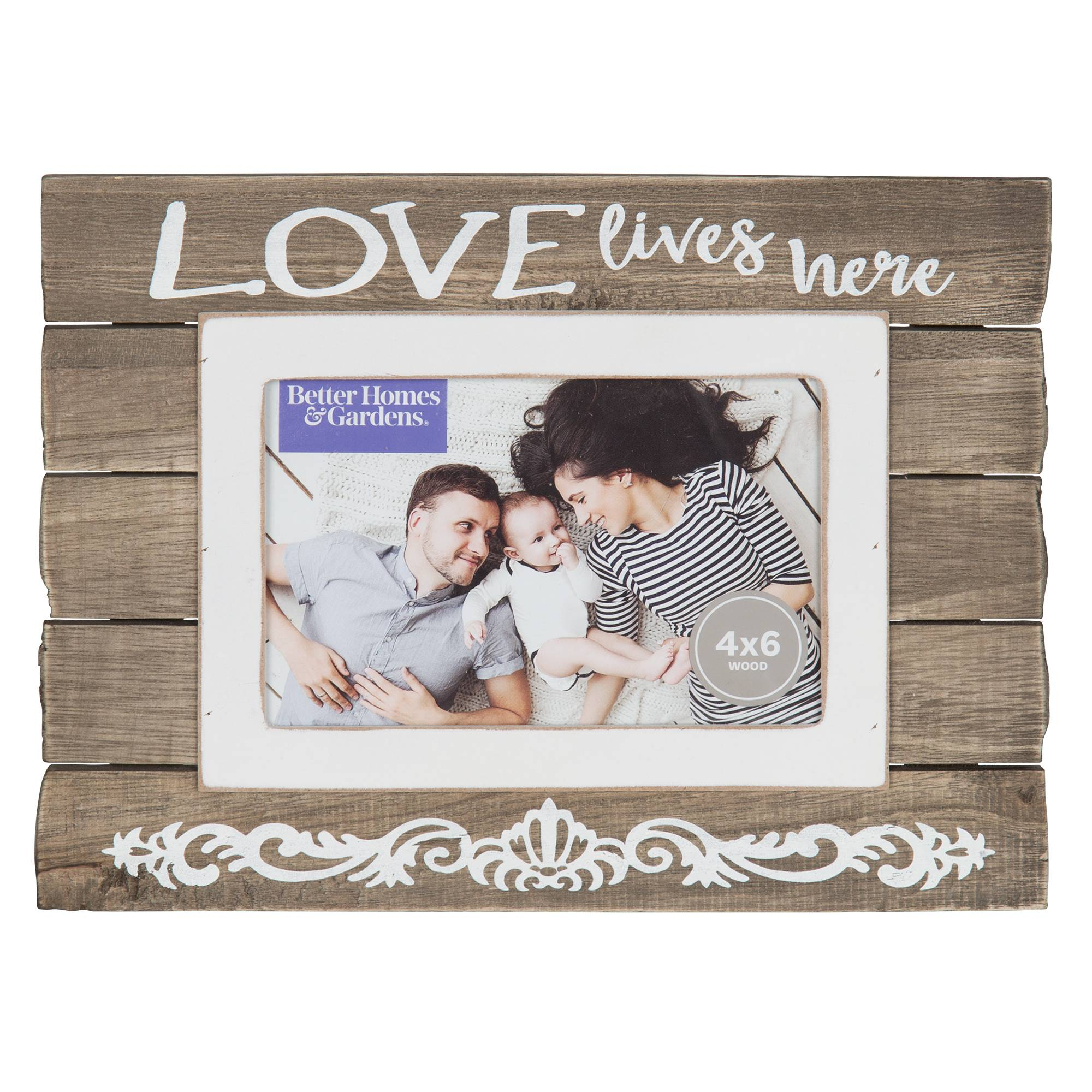 Better Homes and Gardens 4x6 Plank Love Sentiment Picture Frame