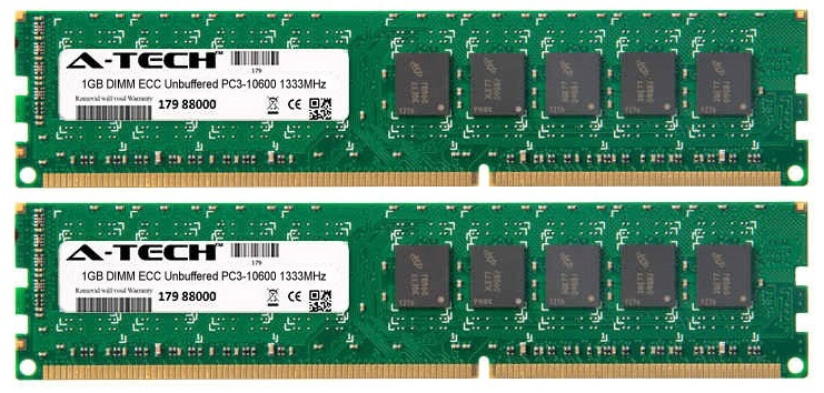 2GB Kit 2x 1GB Modules PC3-10600 1333MHz ECC Unbuffered DDR3 DIMM Server 240-pin Memory Ram