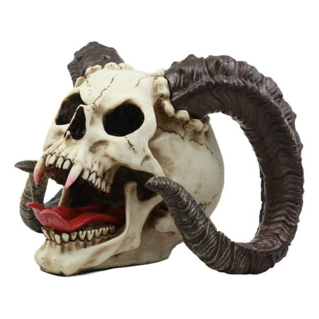 Ebros Large Bizarre Demonic Krampus Ram Horned Skull Statue Gothic Figurine Halloween Party Centerpiece (Krampus Horns)